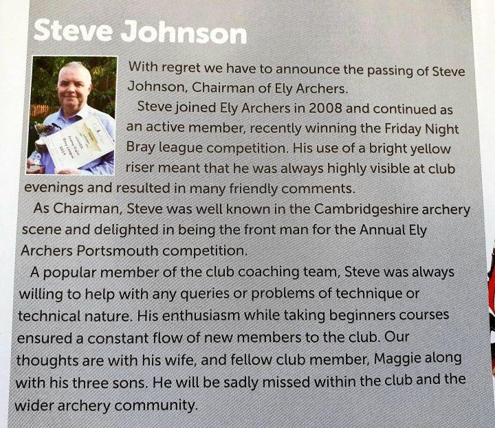 Steve Johnson in the Archery GB Magazine