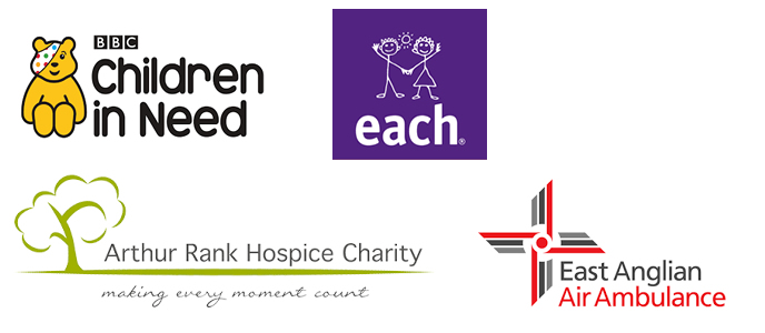 Charities - Children in Need, Milton Hospice, Arthur Rank, East Anglian Air Ambulance